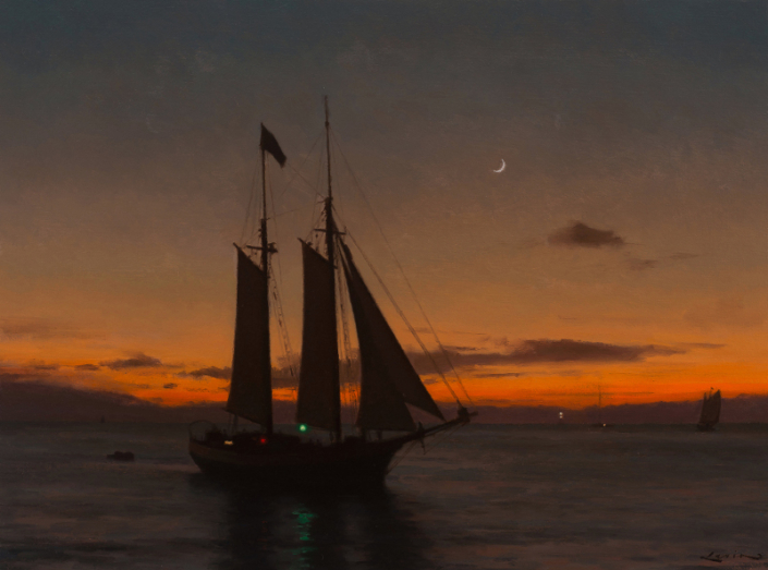 Schooner at Sunset 12x16