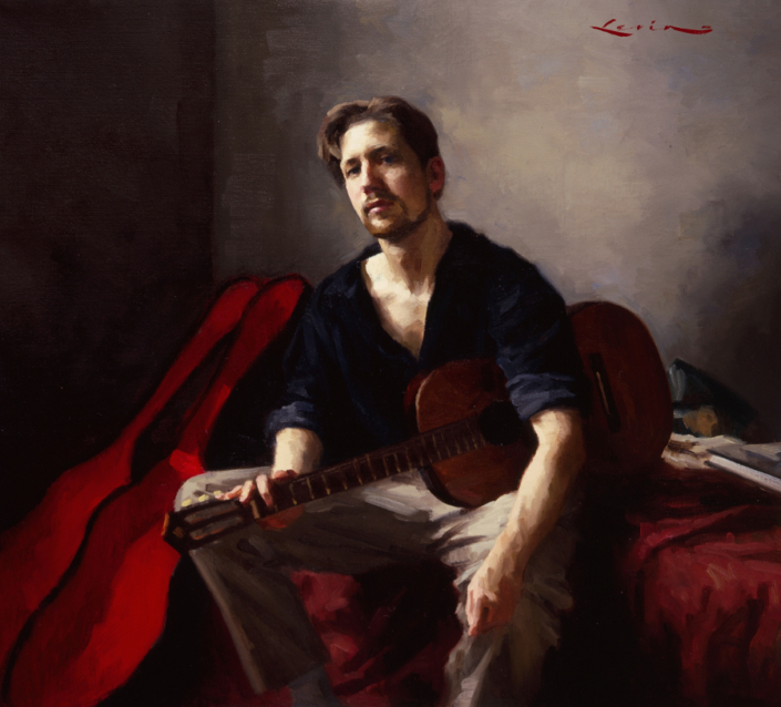 Self Portrait With Guitar, 16 x 18, 1998